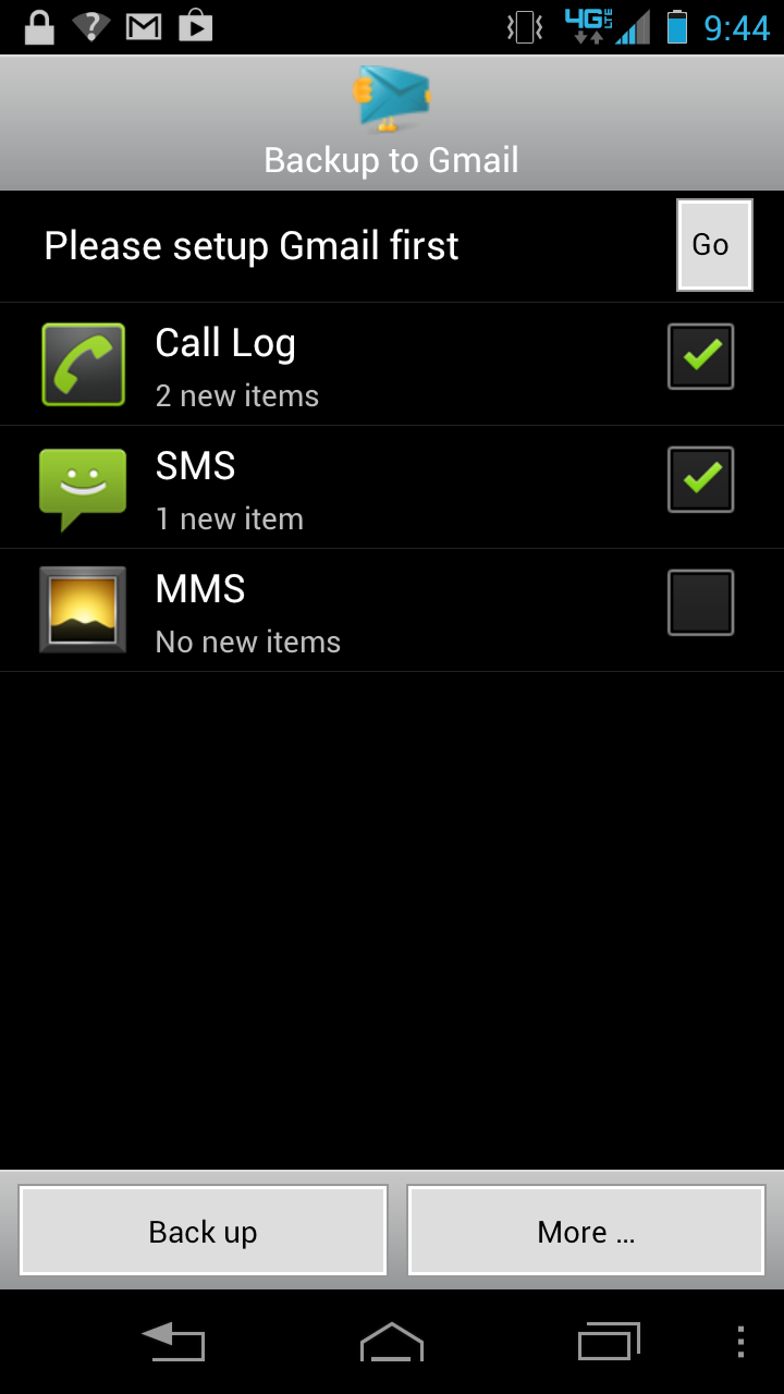 Backup SMS, MMS And Call Logs to Gmail