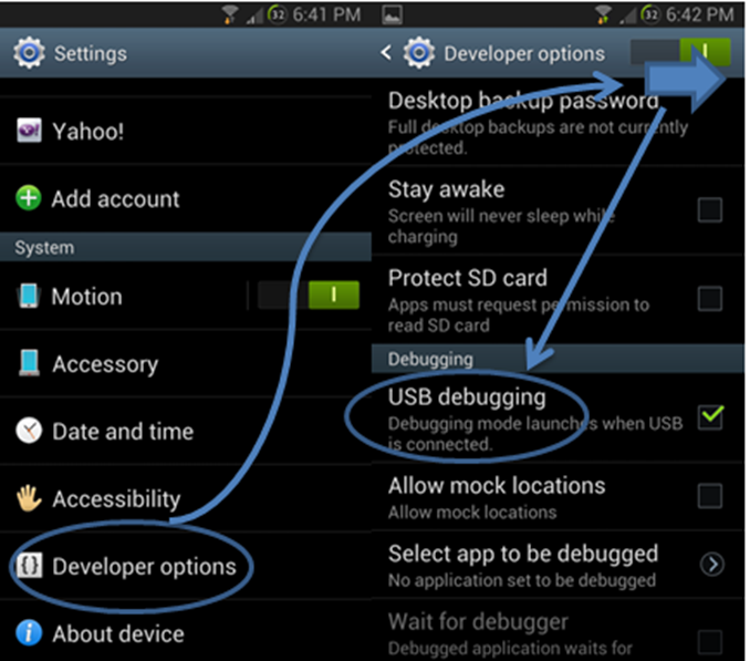 android-acivate-usb-debergging-mode
